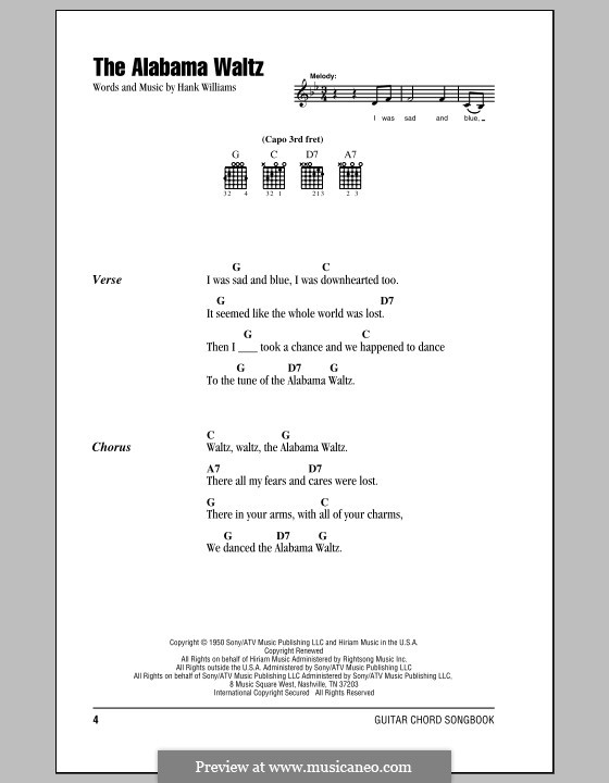 The Alabama Waltz: Lyrics and chords (with chord boxes) by Hank Williams