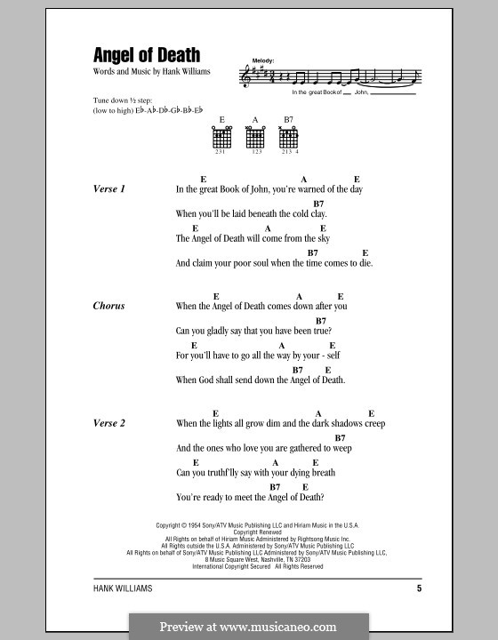 Angel of Death: Lyrics and chords (with chord boxes) by Hank Williams