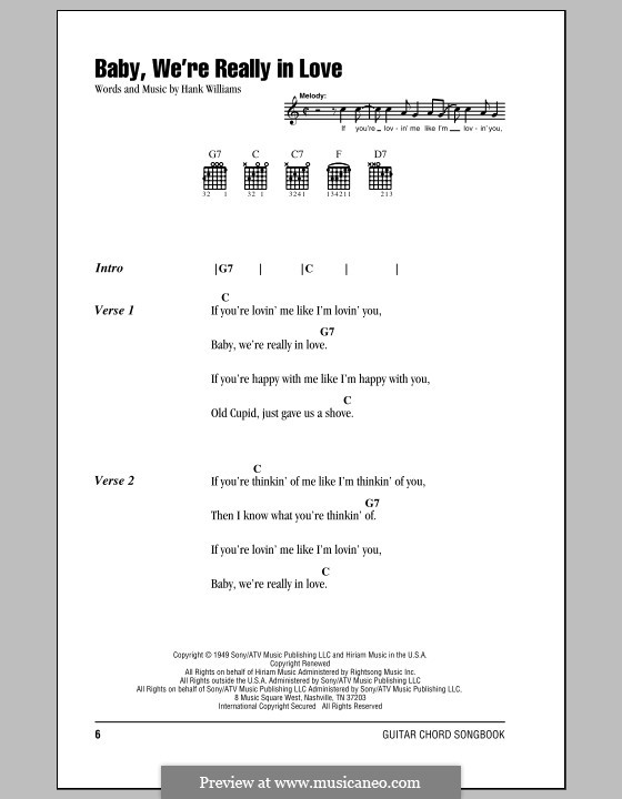 Baby, We're Really in Love: Lyrics and chords (with chord boxes) by Hank Williams