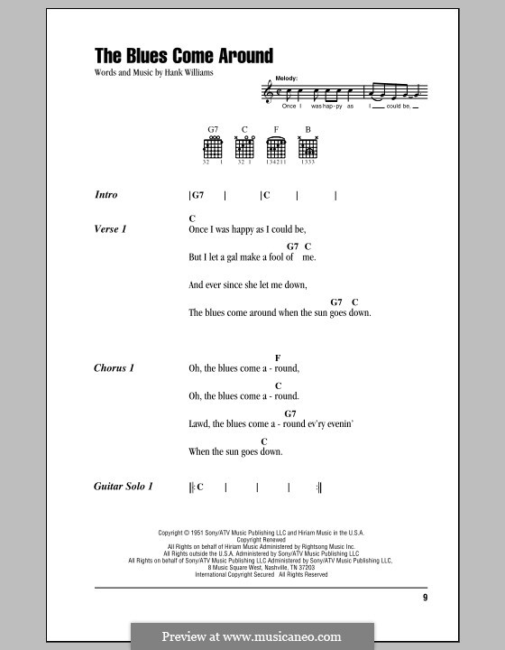 The Blues Come Around: Lyrics and chords (with chord boxes) by Hank Williams