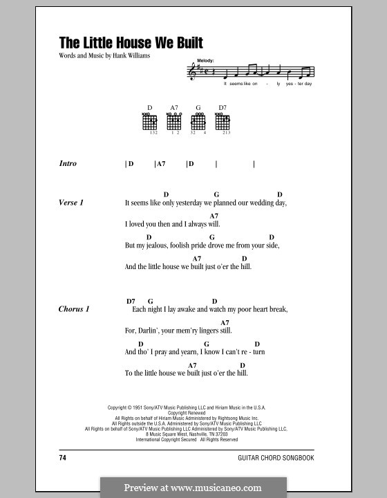 The Little House We Built: Lyrics and chords (with chord boxes) by Hank Williams, Don Helms