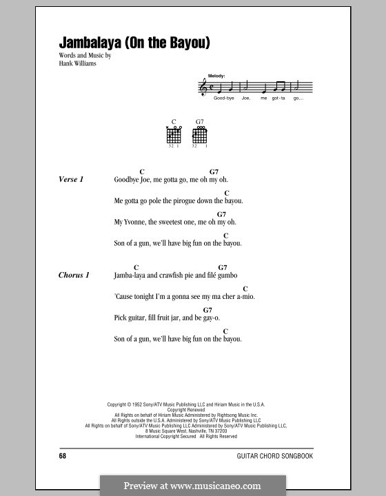 Jambalaya (On the Bayou): Lyrics and chords (with chord boxes) by Hank Williams