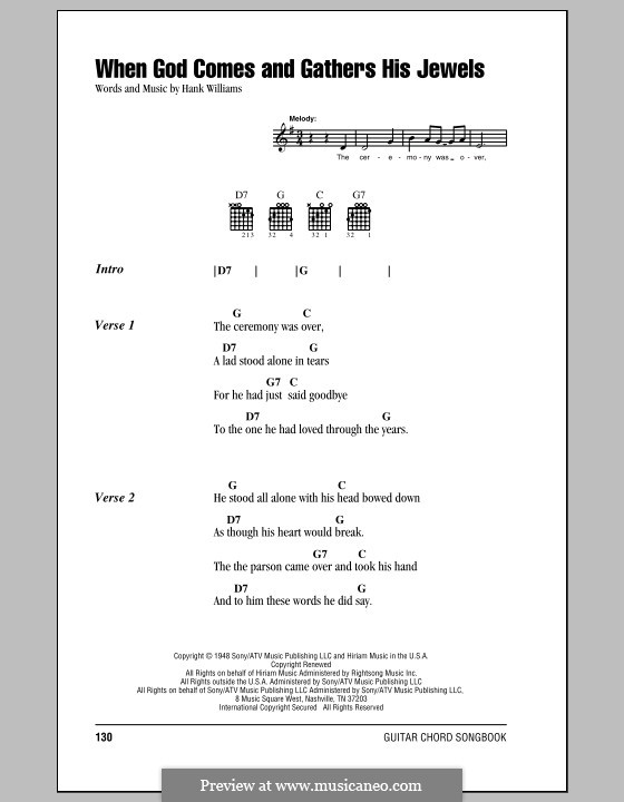 When God Comes and Gathers His Jewels: Lyrics and chords (with chord boxes) by Hank Williams