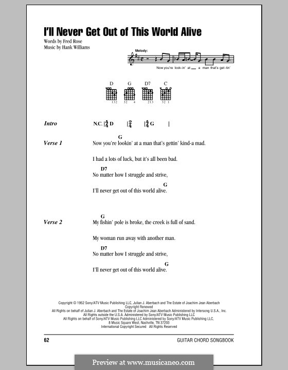 I'll Never Get Out of This World Alive (Hank Williams): Lyrics and chords (with chord boxes) by Fred Rose
