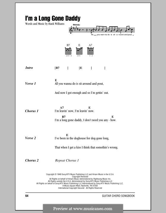 I'm a Long Gone Daddy: Lyrics and chords (with chord boxes) by Hank Williams