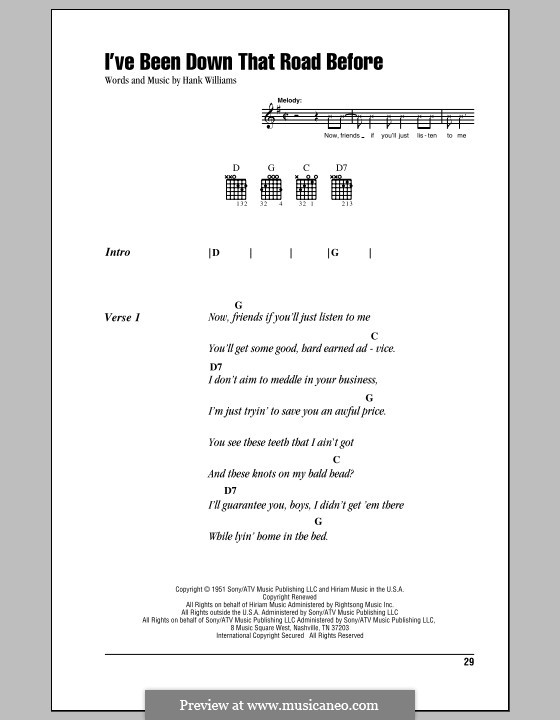 I've Been Down That Road Before: Lyrics and chords (with chord boxes) by Hank Williams