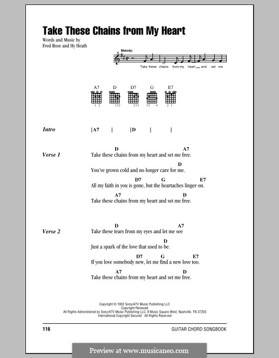 Take These Chains from My Heart: Lyrics and chords (with chord boxes) by Fred Rose, Hy Heath