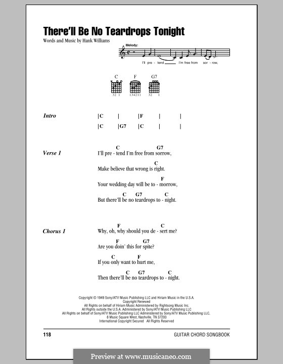 There'll Be No Teardrops Tonight: Lyrics and chords (with chord boxes) by Hank Williams