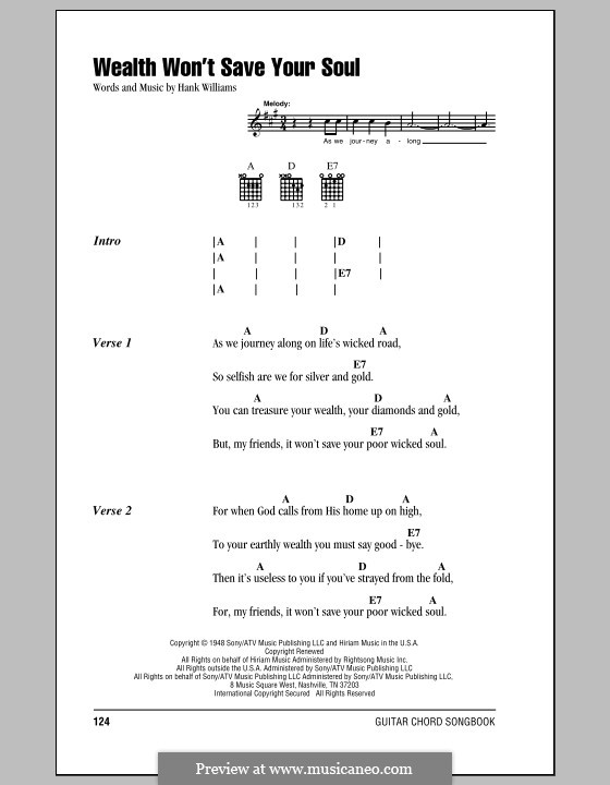 Wealth Won't Save Your Soul: Lyrics and chords (with chord boxes) by Hank Williams