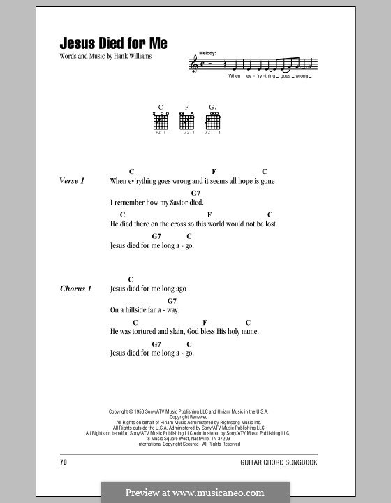Jesus Died for Me: Lyrics and chords (with chord boxes) by Hank Williams