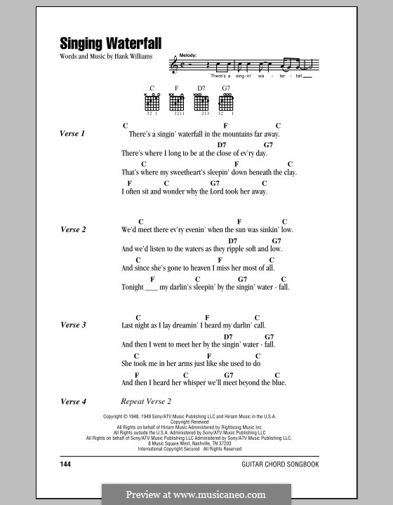 Singing Waterfall: Lyrics and chords (with chord boxes) by Hank Williams