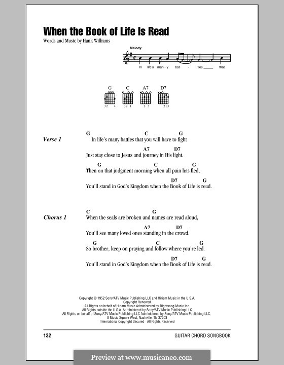 When the Book of Life Is Read: Lyrics and chords (with chord boxes) by Hank Williams
