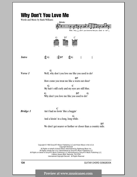 Why Don't You Love Me: Lyrics and chords (with chord boxes) by Hank Williams