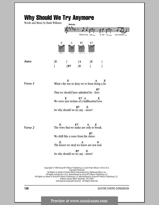 Why Should We Try Anymore: Lyrics and chords (with chord boxes) by Hank Williams