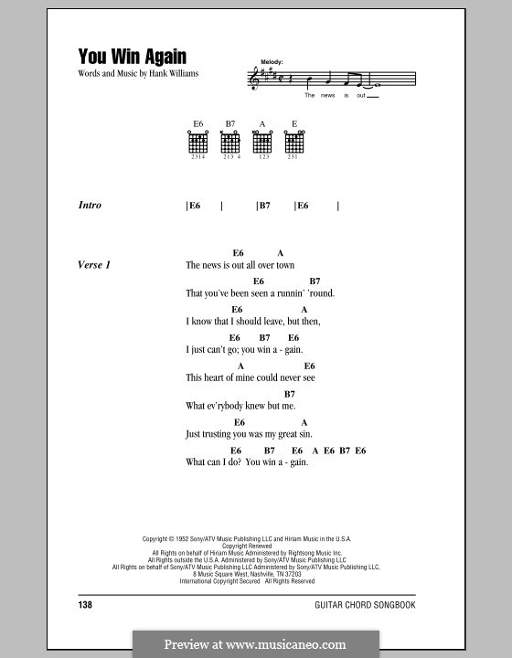 You Win Again: Lyrics and chords (with chord boxes) by Hank Williams