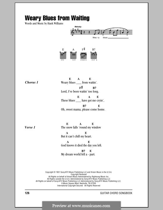 Weary Blues from Waiting: Lyrics and chords (with chord boxes) by Hank Williams