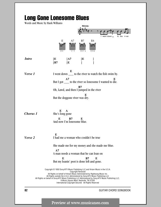 Long Gone Lonesome Blues: Lyrics and chords (with chord boxes) by Hank Williams