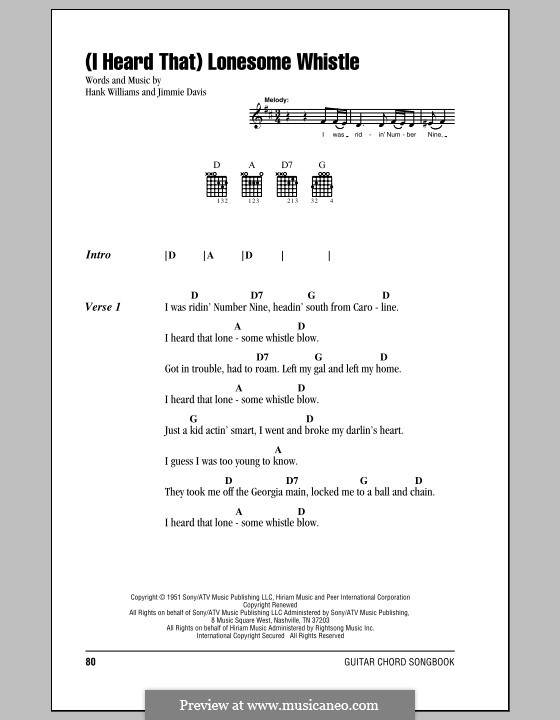 (I Heard That) Lonesome Whistle: Lyrics and chords (with chord boxes) by Hank Williams, Jimmie Davis
