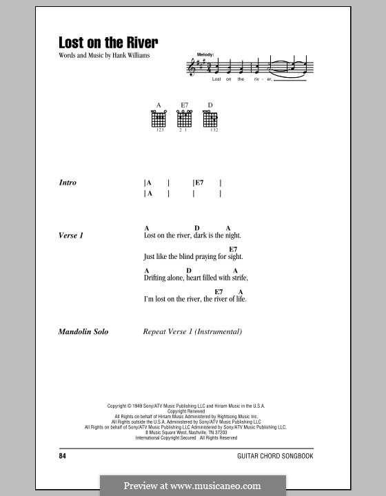 Lost on the River: Lyrics and chords (with chord boxes) by Hank Williams