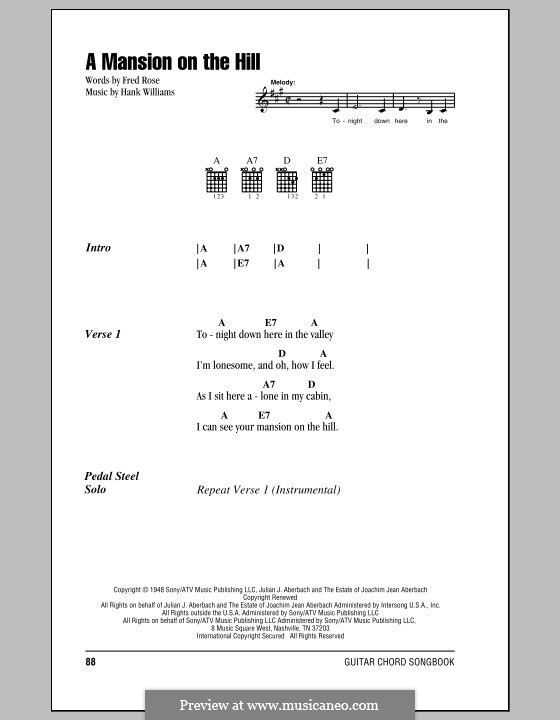 A Mansion on the Hill (Hank Williams): Lyrics and chords (with chord boxes) by Fred Rose
