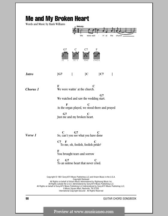 Me and My Broken Heart: Lyrics and chords (with chord boxes) by Hank Williams