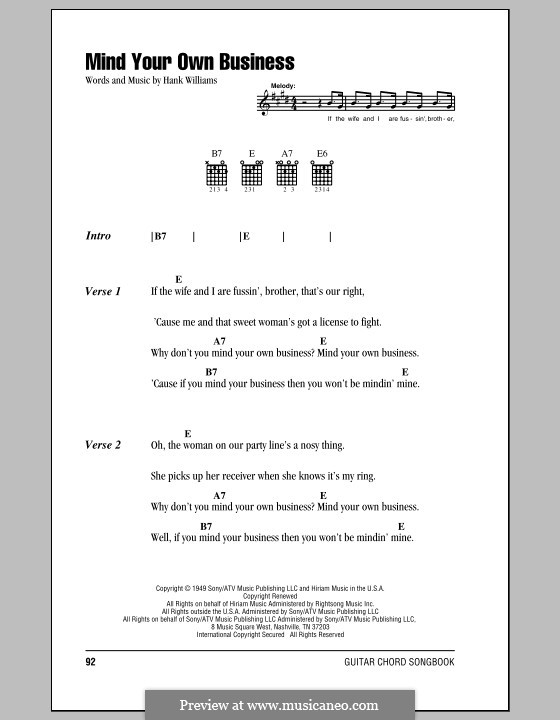 Mind Your Own Business: Lyrics and chords (with chord boxes) by Hank Williams