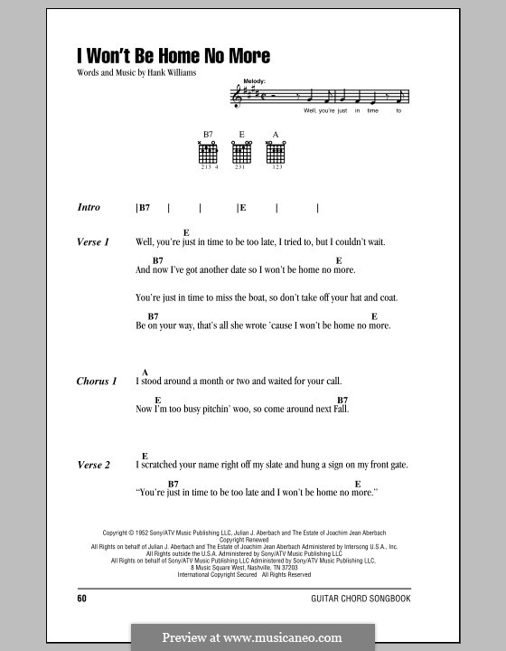I Won't Be Home No More: Lyrics and chords (with chord boxes) by Hank Williams