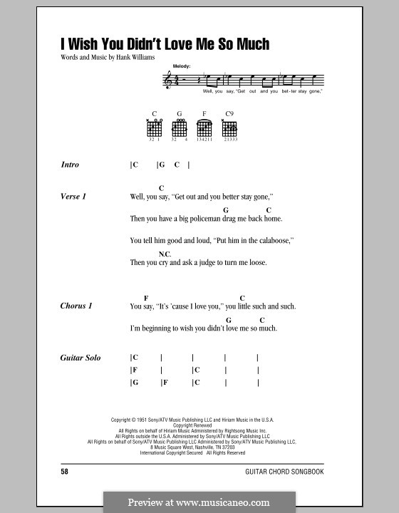 I Wish You Didn't Love Me So Much: Lyrics and chords (with chord boxes) by Hank Williams