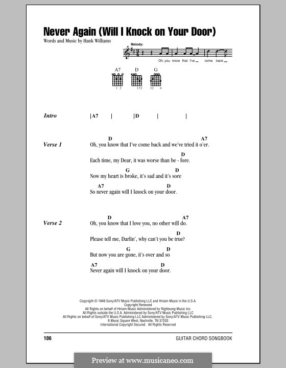 Never Again (Will I Knock on Your Door): Lyrics and chords (with chord boxes) by Hank Williams