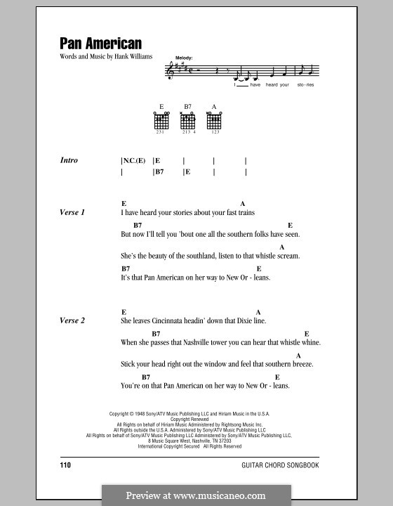 Pan American: Lyrics and chords (with chord boxes) by Hank Williams