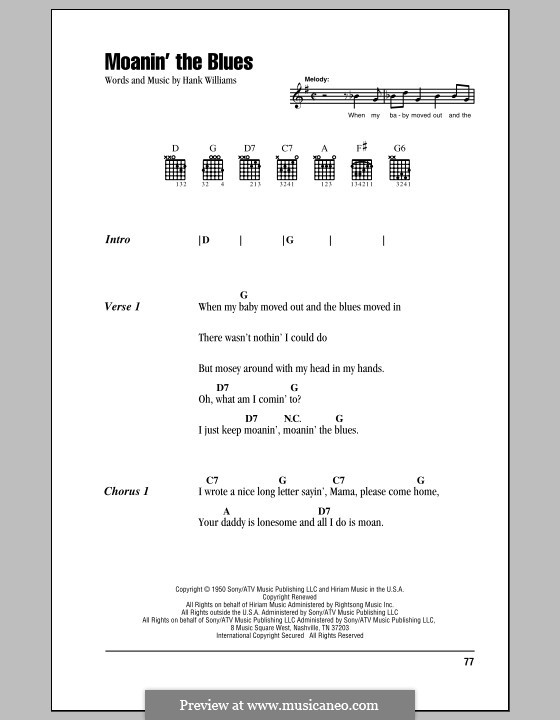 Moanin' the Blues: Lyrics and chords (with chord boxes) by Hank Williams