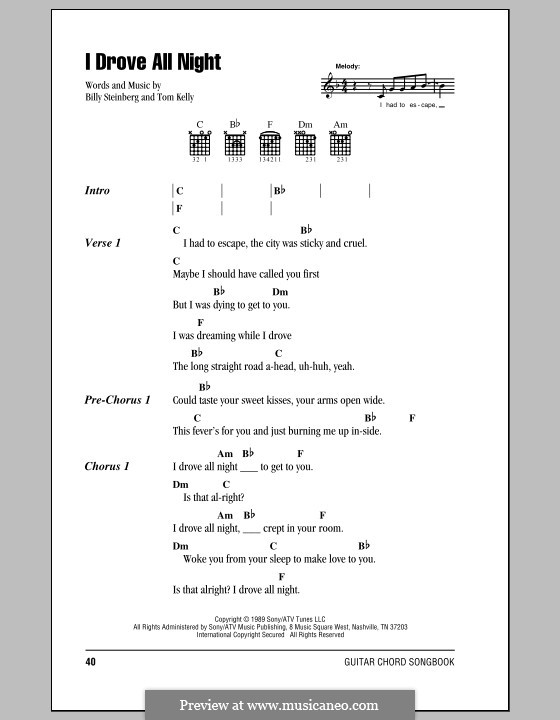I Drove All Night (Roy Orbison): Lyrics and chords (with chord boxes) by Billy Steinberg, Tom Kelly