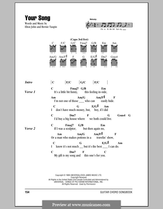 Your Song: Lyrics and chords (with chord boxes) by Elton John