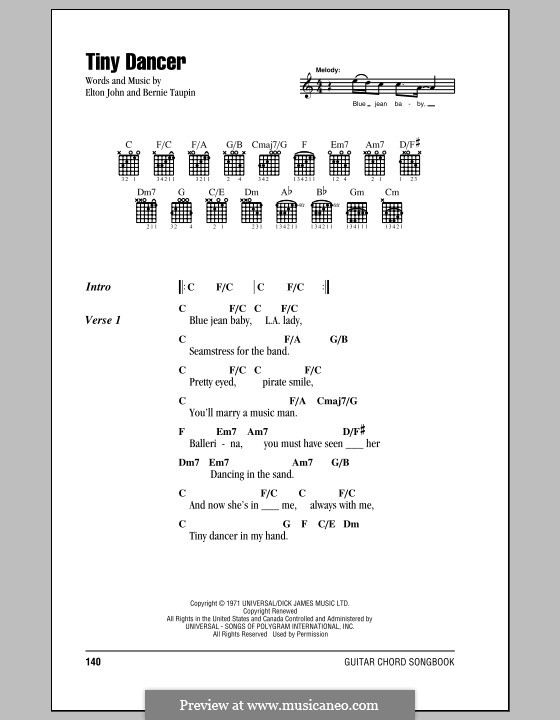 Tiny Dancer: Lyrics and chords (with chord boxes) by Elton John