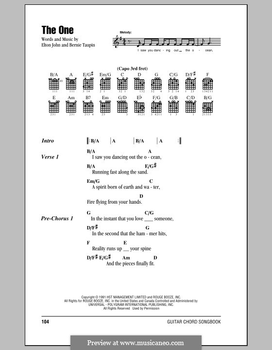 The One: Lyrics and chords (with chord boxes) by Elton John