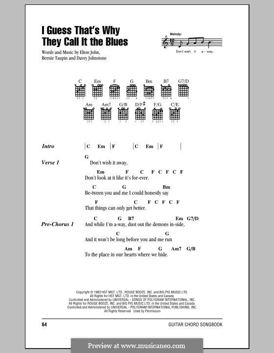 I Guess That's Why They Call It the Blues: Lyrics and chords (with chord boxes) by Davey Johnstone, Elton John