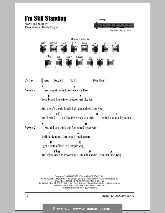 I'm Still Standing: Lyrics and chords (with chord boxes) by Elton John
