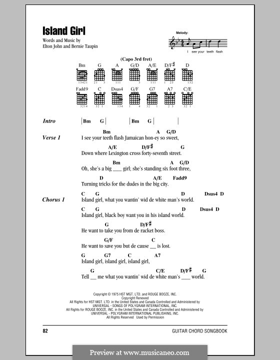 Island Girl: Lyrics and chords (with chord boxes) by Elton John