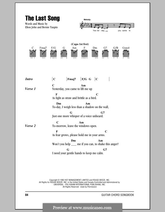 The Last Song: Lyrics and chords (with chord boxes) by Elton John