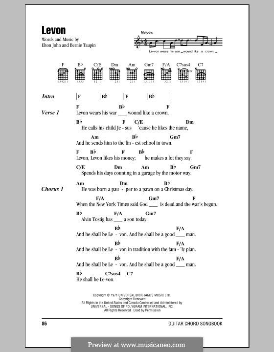 Levon: Lyrics and chords (with chord boxes) by Elton John