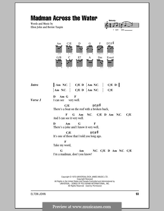 Madman Across the Water: Lyrics and chords (with chord boxes) by Elton John