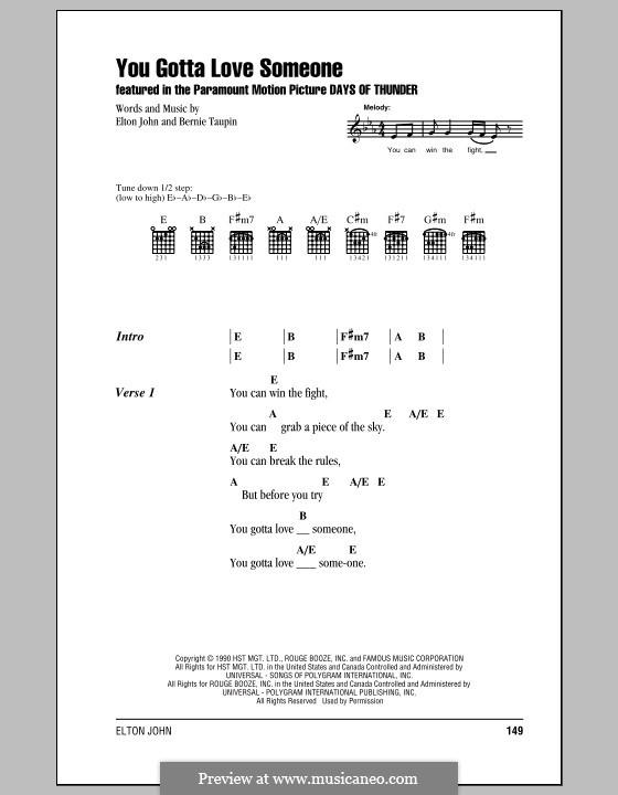 You Gotta Love Someone: Lyrics and chords (with chord boxes) by Elton John