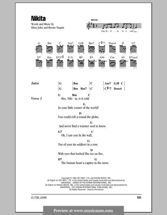 Nikita: Lyrics and chords (with chord boxes) by Elton John