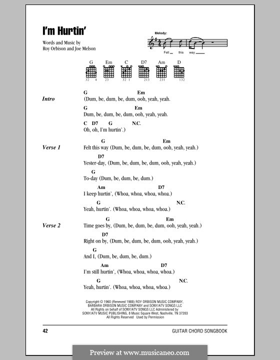 I'm Hurtin': Lyrics and chords (with chord boxes) by Joe Melson
