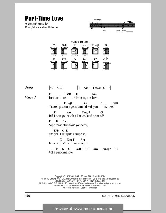 Part-Time Love: Lyrics and chords (with chord boxes) by Elton John, Gary Osborne