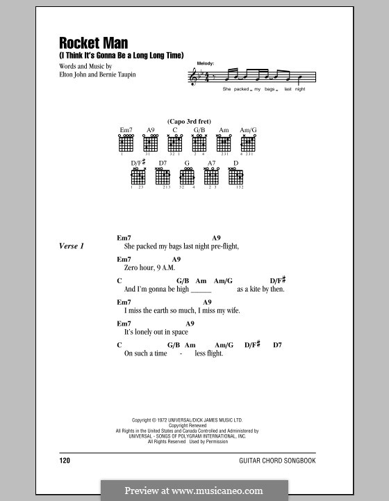 Rocket Man (I Think It's Gonna Be a Long Long Time): Lyrics and chords (with chord boxes) by Elton John