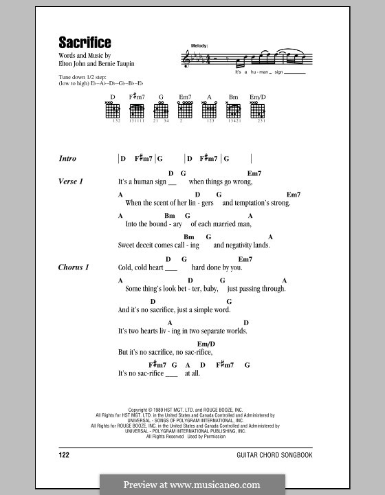 Sacrifice: Lyrics and chords (with chord boxes) by Elton John