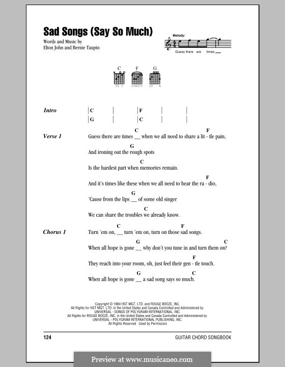 Sad Songs (Say So Much): Lyrics and chords (with chord boxes) by Elton John