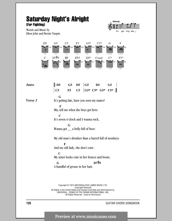 Saturday Night's Alright (For Fighting): Lyrics and chords (with chord boxes) by Elton John