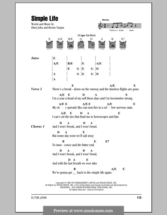 Simple Life: Lyrics and chords (with chord boxes) by Elton John